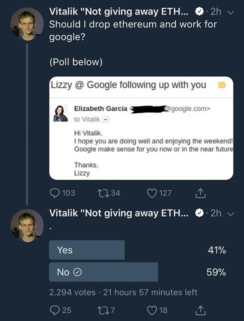 Виталик Бутерин удалил твит с опросом о своем переходе в Google