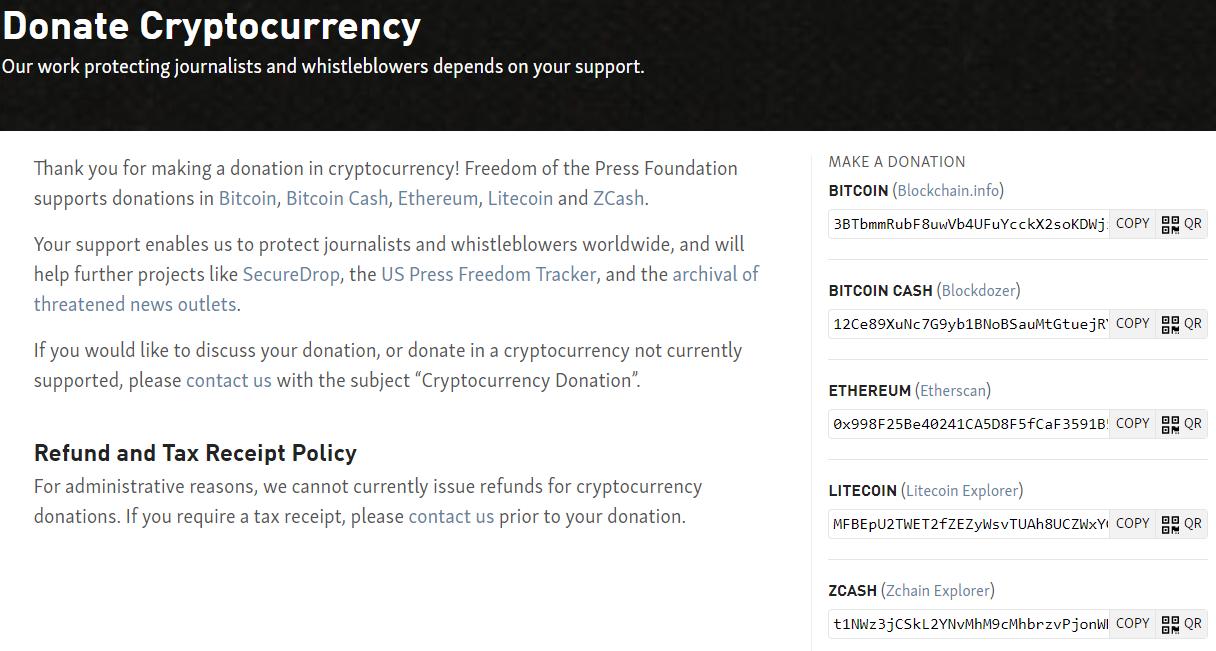 Фонд «Свобода прессы» начал принимать пожертвования в криптовалюте
